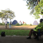 Camping on the banks of the Congo